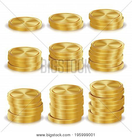 Gold Coins Stacks Vector. Golden Finance Icons, Sign, Success Banking Cash Symbol. Realistic Isolated Illustration