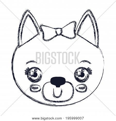 face of female cat animal happiness expression vector illustration
