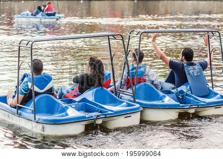 Montreal, Canada - May 27, 2017: Old Port Bonsecours Market Basin Area With People On Pedal Boats In