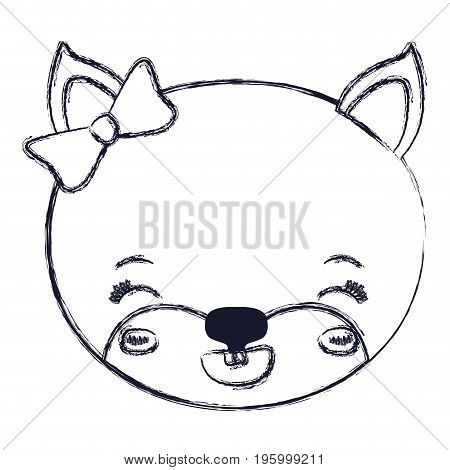 face of female cat animal eyes closed and happiness expression vector illustration