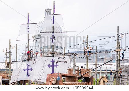 Montreal, Canada - May 27, 2017: Old Port Bonsecours Market Basin Area With Voiles En Voiles Aerial