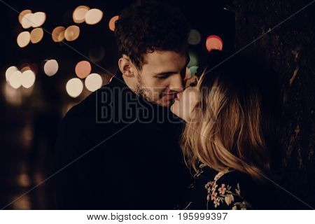 Lovers Kissing At Night, Sensual Couple Portait Face Close-up, Husband And Wife On Honeymoon In Pari