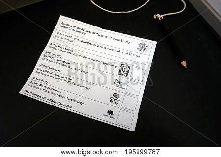 Camberley, Uk - June 8Th 2017: Ballot Paper Or Voting Slip For A Uk General Election