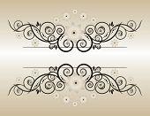 Vintage background with flowers Elegant  Beige  Symmetric Forms for your design poster