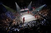 Empty boxing ring surrounded with spectators. 3D illustration. poster