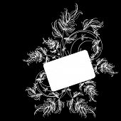 White floral sketch on a black background poster