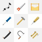Set Of 9 Editable Apparatus Icons. Includes Symbols Such As Bodkin, Nag, Hammer And More. Can Be Used For Web, Mobile, UI And Infographic Design. poster