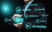 SEO SEM Search Engine Optimization Marketing Ranking Traffic Website Internet Business Technology Concept poster