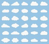 Set of Cloud icon white color on blue background. Cloud sky vector illustration collection for web art and app design. Different cloudscape weather symbols. poster