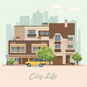 City life. Vector illustration with buildings, detached house, semi-detached house, bungalow, mansion, high-rise building. poster
