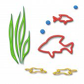 abstract underwater scene fish and bubbles on white background poster
