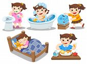 The daily routine of a cute girl on a white background. [sleep, brush teeth, take a bath, eat, saving money]. Isolated vector poster