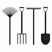 Shovel or spade rake and pitchfork icons isolated on white background. Gardening tools design. Vector illustration. poster