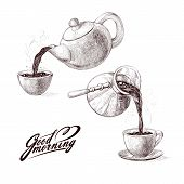 Vector sketch illustration of fresh brewed hot and flavored morning coffee from turks and tea from teapot poured into cup. Drink with splashes and steam pouring into bowl. Imitation vintage engraving poster