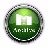Archive icon. Archive website button on white background poster