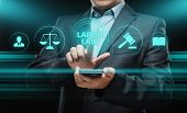 Businessman press button. Labor Law Lawyer Legal Business Internet Technology Concept poster