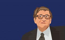 Famous entrepreneur Bill Gates vector portrait on a blue background