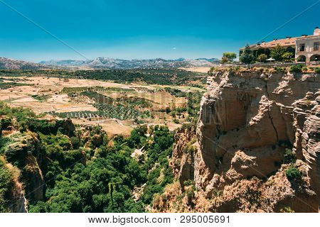 Ronda, Spain. Tajo De Ronda Is A Gorge Carved By The Guadalevin River, On Which The Town Of Ronda, S