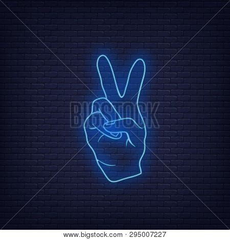 Neon Fingers Hand Signals Mean Peace. Vector Illustration