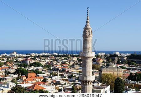 The Minaret Of The Mosque Of Suleiman The Magnificent, Greece.