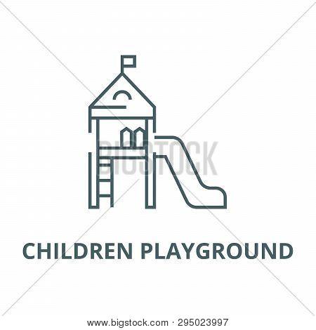 Children Playground, Small House  Line Icon, Vector. Children Playground, Small House  Outline Sign,