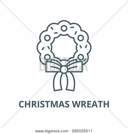 Christmas Wreath Line Vector Photo Free Trial Bigstock