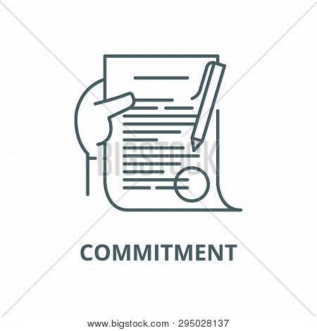 Commitment Line Icon, Vector. Commitment Outline Sign, Concept Symbol, Flat Illustration