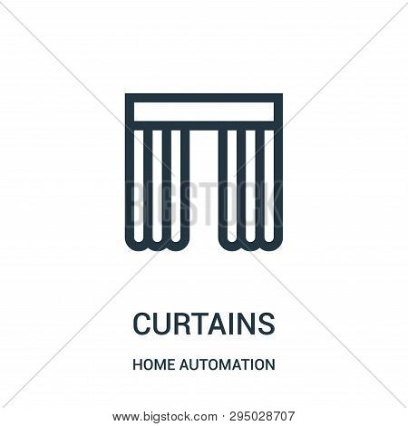 Curtains Icon Isolated On White Background From Home Automation Collection. Curtains Icon Trendy And