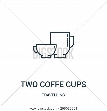 Two Coffe Cups Icon Isolated On White Background From Travelling Collection. Two Coffe Cups Icon Tre