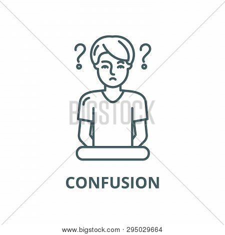 Confusion Line Icon, Vector. Confusion Outline Sign, Concept Symbol, Flat Illustration