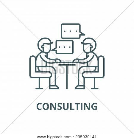 Consulting Line Icon, Vector. Consulting Outline Sign, Concept Symbol, Flat Illustration