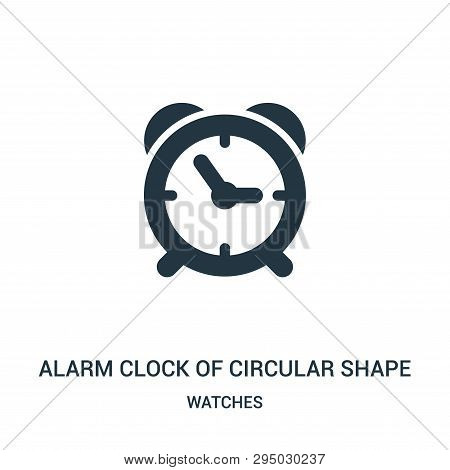 Alarm Clock Of Circular Shape Icon Isolated On White Background From Watches Collection. Alarm Clock