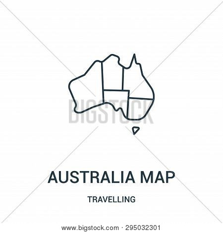 Australia Map Icon Isolated On White Background From Travelling Collection. Australia Map Icon Trend