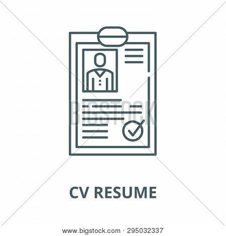 Cv Resume Line Icon, Vector. Cv Resume Outline Sign, Concept Symbol, Flat Illustration
