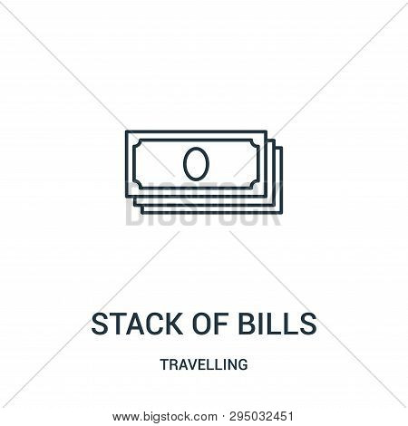 Stack Of Bills Icon Isolated On White Background From Travelling Collection. Stack Of Bills Icon Tre