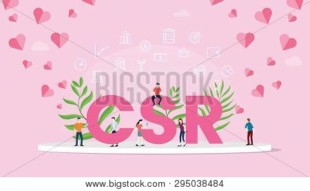 Csr Corporate Social Responsibility Concept Big Text With People Team Work Working With Modern Pink