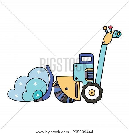 An elecric snow shovel  with a sweeper. Fine for ice and snow removal services promotion, articles abot de-icing equipment and snow clearing work. poster