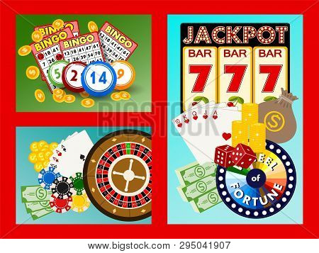 Casino Concept Banners, Cards Vector Illustration. Includes Roulette, Casino Chips, Playing Cards, W