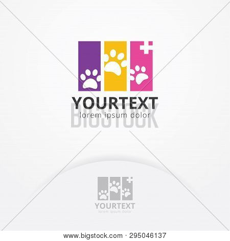 Animal Health Logo With Silhouettes Of Pet Paw. Pet Care Logo Template