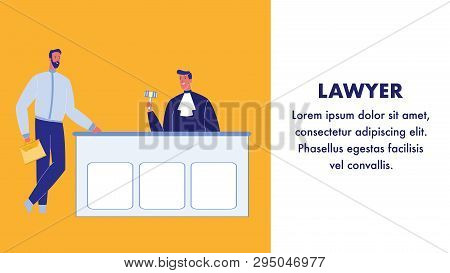 Lawyer Flat Vector Web Banner With Text Space. Judge In Courtroom. Confident Advocate Male Character