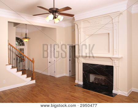 Luxury Living Room With Fireplace And Foyer 1