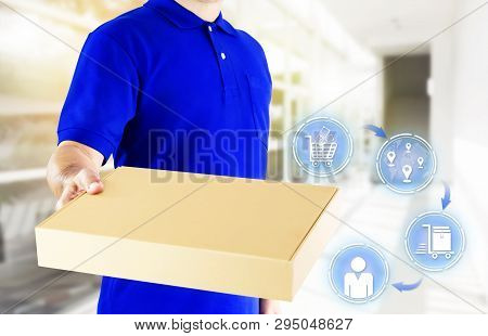 Delivery Man In Blue Uniform And Hands Holding Paper Box For Delivering Package On Icon Media Backgr
