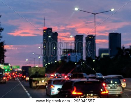 Jakarta, Indonesia - February 16, 2019: Blurry Background Of Congested Road At Jakarta Tangerang Tol