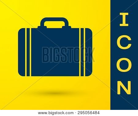 Blue Suitcase For Travel Icon Isolated On Yellow Background. Traveling Baggage Sign. Travel Luggage
