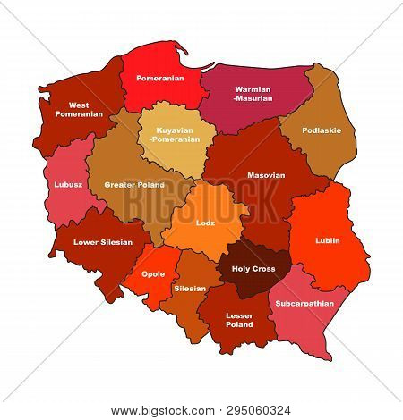 Simplified Map Of Poland With Voivodeships Isolated