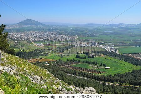 View Of The Jezreel Valley, Biblical Mount Tabor And The Arab Villages At Its Foot, Neighborhood Naz