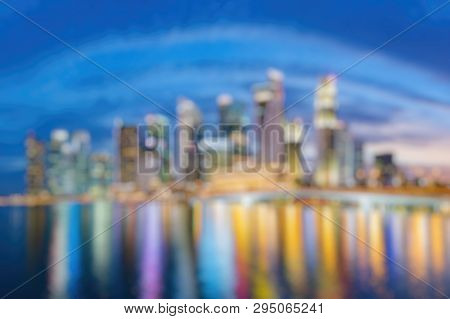 Out Of Focus Of Singapore Financial District Skyline At Marina Bay On Twilight Time, Singapore City,