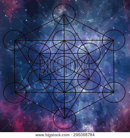 Metatron Cube Sacred Geometry Energy Meditation Chakra Illustration Purple Cosmo Universe
