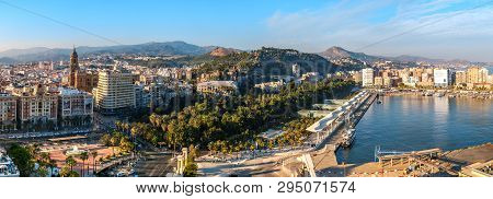 Malaga, Spain - June 29, 2018. Panoramic View Of The Malaga City, Cathedral Of The Incarnation, Marr