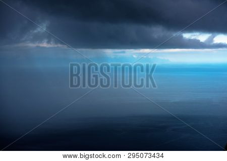 Air Picture - Rain Shower Over The Ocean -  Katmai Bay In Alaska